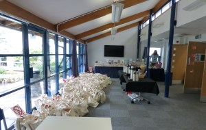 RNA conference reception with goody bags, coffee, bookstall