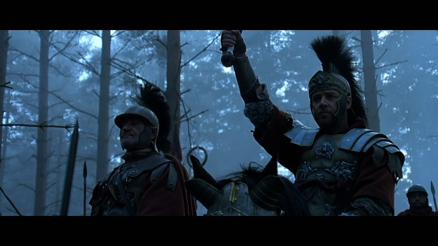 Roman battle against Germanic tribes from film Gladiator
