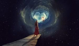 woman in dreamy fantasy landscape