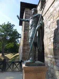 statue Saalburg fort entrance, frontier