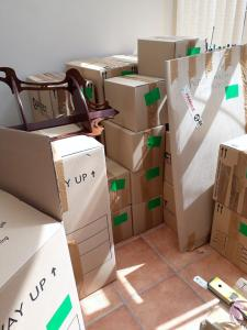 moving boxes fill the space