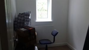 Sarah's tiny temporary office