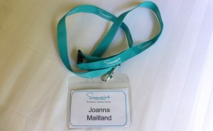 Swanwick newbie white badge for Joanna Maitland