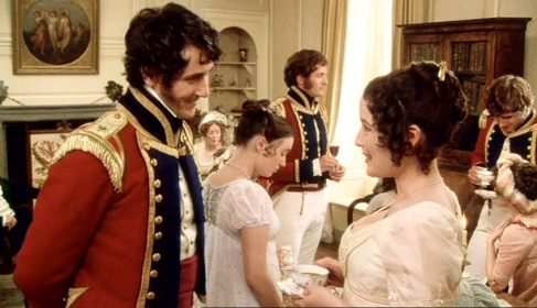 Lizzie Bennet with George Wickham in military uniform