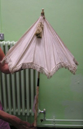 pale pink silk fringed Regency parasol, Hereford Museum collection