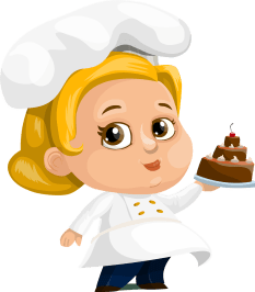 cartoon of female chef with cake