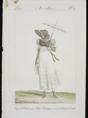 lady wears tartan boots and shawl, Paris print 1814 © Victoria and Albert Museum, London