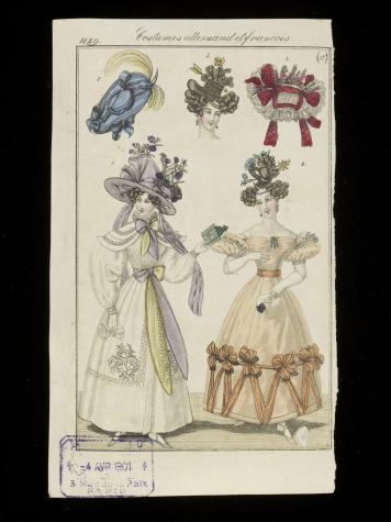 "1829 orange ball dress, puff sleeves, ""Apollo knot"" hair © Victoria and Albert Museum, London"
