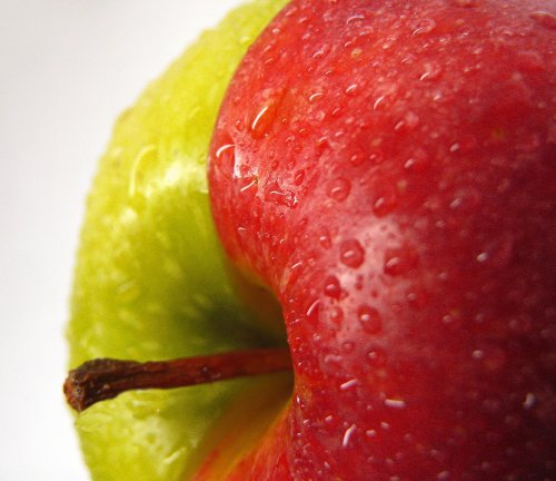apple half red half green