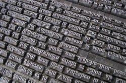 text set in metal type