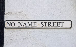 Street sign reading NO NAME STREET in ancient Cinque Port of Sandwich in Kent, England