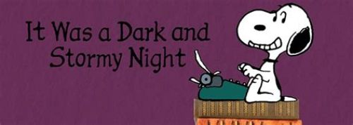 Snoopy start with weather: it was a dark and stormy night