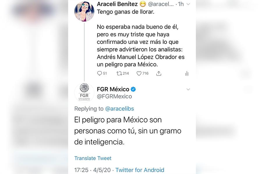 Responde FGR a critica contra AMLO desde cuenta oficial en Twitter