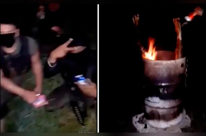 Sujetos cocinan el cuerpo de una persona en un tambo mientras ríen