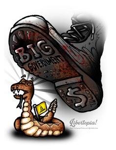 Don't Tread on Me, cartoon, political cartoon, big government, illustration, art, rattle snake, Gadsden flag