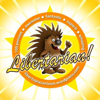 libertarian, porcupine, gold star, awesome, fun, happy, positive, illustration