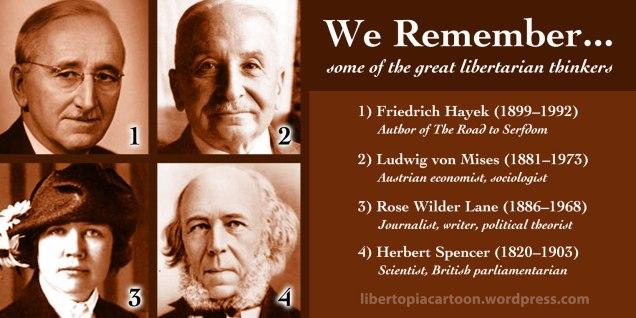 libertarian, meme graphic, Friedrich Hayek, Ludwig von Mises