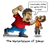 cartoon, libertarian, marketplace of ideas, tolerance