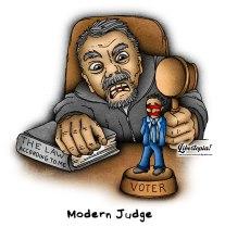 judge, justice, politics, activist judge, cartoon, libertarian