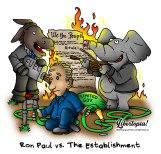 Ron Paul, politics, cartoon, democrats, republicans, limited government, establishment politics