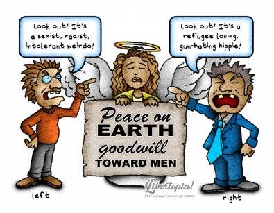libertarian, cartoon, peace on earth, goodwill toward men, illustration, progressive, conservative, left vs. right