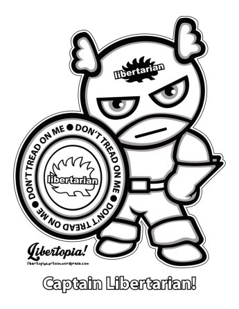 captain libertarian, don't tread on me, coloring page, craft, kids craft, adult coloring, libertarian, art, illustration, lineart, awesome artwork
