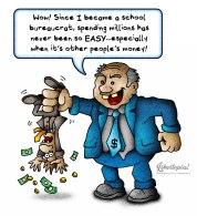 public education, cartoon, political cartoon, illustration, taxes, taxation is theft, school bureaucrat