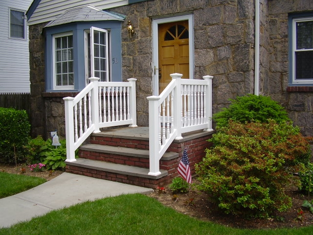 Outdoor Pvc Vinyl Railings Handrails Liberty Fence Railing | Handrails For Front Steps | Small House | Granite | Easy | Cast Iron | Wrought Iron