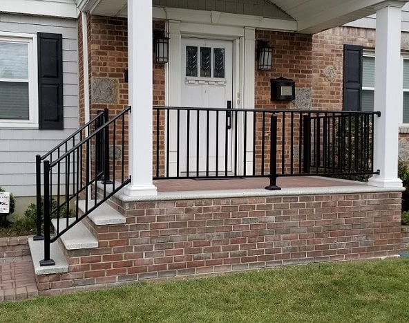Outdoor Aluminum Railings Handrails Liberty Fence Railing | Aluminum Outdoor Stair Railing | 2 Step | Pressure Treated Deck Black | Commercial | Modern | Front Entrance