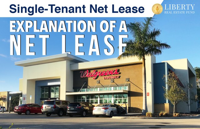 Freestanding NNN Triple Net Walgreens store in Florida with palm trees and text reading Single-Tenant Net Lease Explanation of a Net Lease