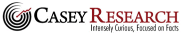 The Casey Research Logo with a target and arrow on the left side and the text Intensely Curious, Focused on Facts in a Liberty Real Estate Fund article on bonds and real estate and the real risk with bonds.