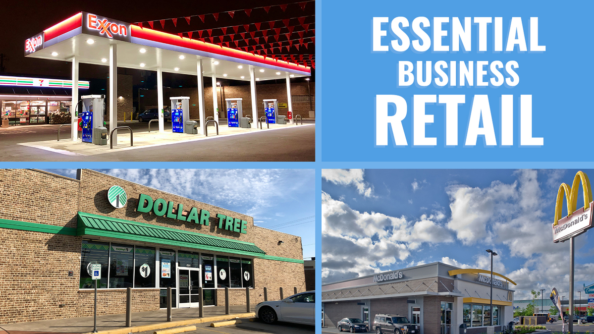Graphic titled ESSENTIAL BUSINESS RETAIL with pictures of a 7-Eleven in Chicago at night, a Dollar Tree in Texas and a McDonald's restaurant.