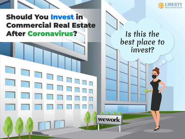 """A picture of a business woman in a mask holding a stack of money in one hand pointing to commercial real estate buildings (office buildings) and thinking (thought bubble with """"Should I Invest in Retail Commercial Space After Coronavirus?"""")"""