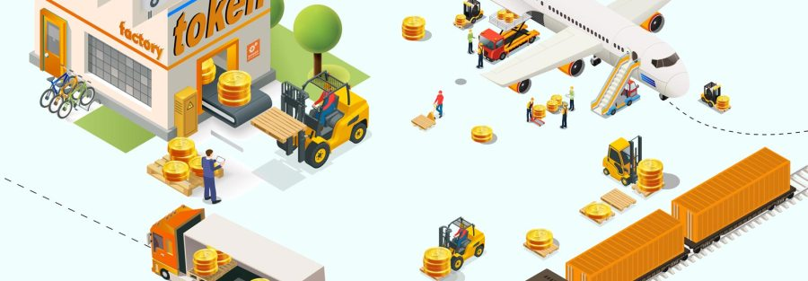 A picture of an unfinished commercial car repair building being constructed by a crane using tokenized blocks with the Liberty Real Estate Fund Logo.