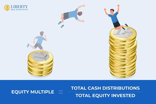 Equity Multiple equation = Total Cash Distributions divided by Total Equity Invested at the bottom of the graphic and 1 stack of 5 Euros coins on the left and a stack on the right side14 euro coins with a young man doing a flip from the left stack to the right higher stack.
