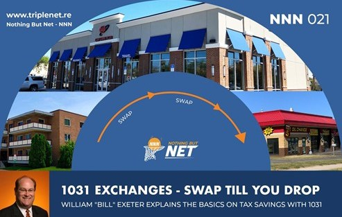 Nothing But Net episode image with different net lease buildings pointing to one another to show how 1031 exchanges let you swap properties, featuring guest Bill Exeter.