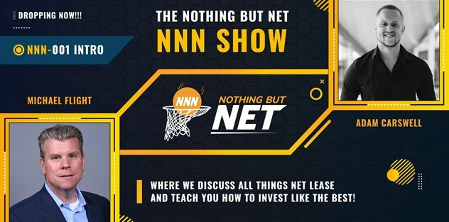 The Nothing But Net - NNN Show Episode 001 with pictures of Adam Carswell and Michael Flight and the Nothing But Net NNN logo and the text Where we discuss all things Net Lease and teach you how to Invest Like the best.