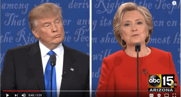 """During the debate between Donald Trump and Hillary Clinton, she couldn't say """"gun control"""" in the same sentence. (YouTube snip)"""