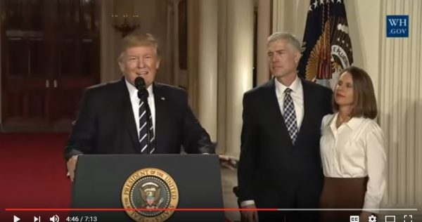 President Donald Trump nominates Judte Neil Gorsuch to the U.S. Supreme Court. (Screen capture YouTube, White House)