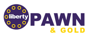 liberty pawn and gold logo purple and gold
