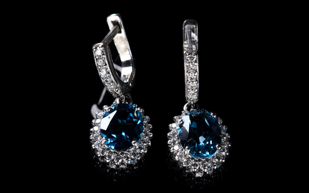 Blue Topaz and Diamond Earings