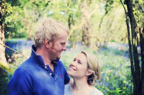 Pre wedding shoot Devon Bluebell woodland farm engagement couple