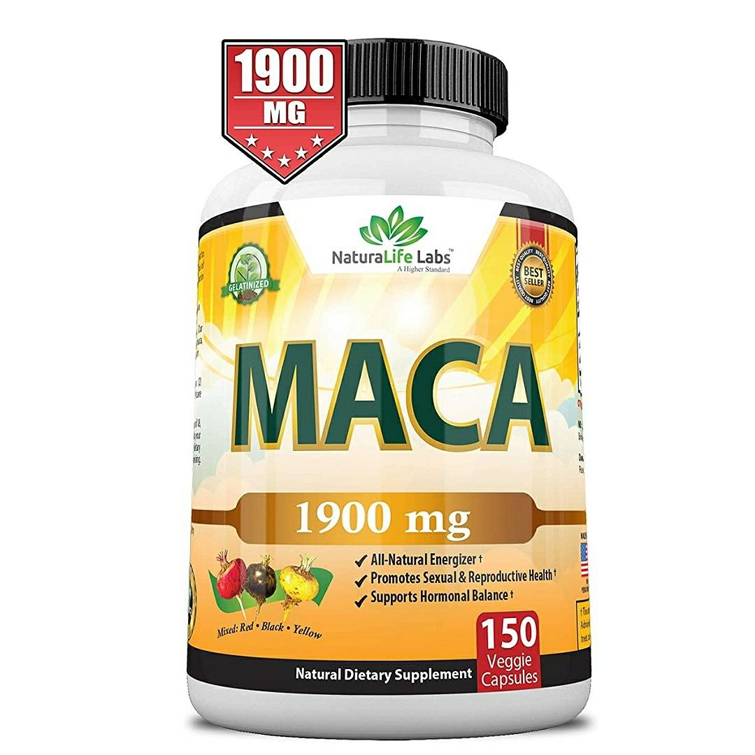 Organic Maca Root Black, Red, Yellow 1900 MG per Serving  150 Vegan Capsules Peruvian Maca Root Gelatinized 100% Pure