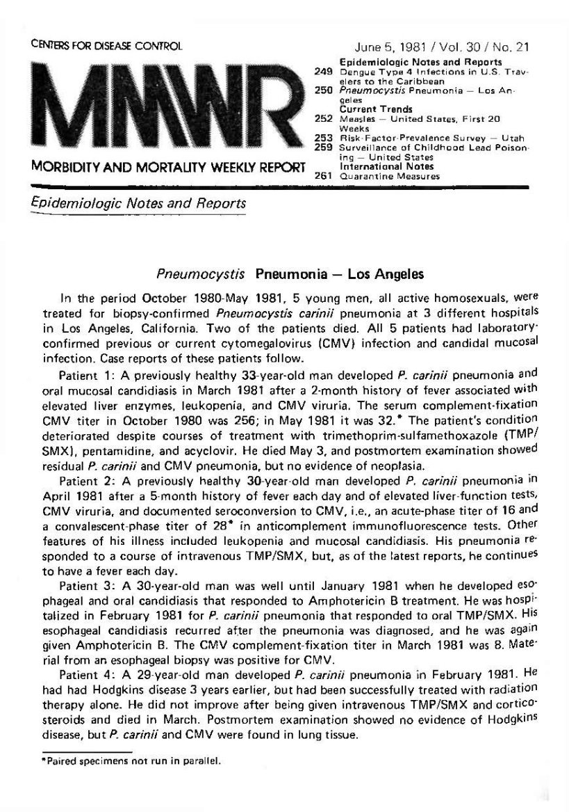 Morbidity and Mortality Weekly Report (MMWR), June 5, 1981, page 2 · HIV-AIDS History in Wisconsin