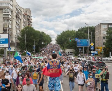 Demonstration am 25. Juli 2020 in Chabarowsk, Russland. Foto: Evgeniy Voytik/Shutterstock