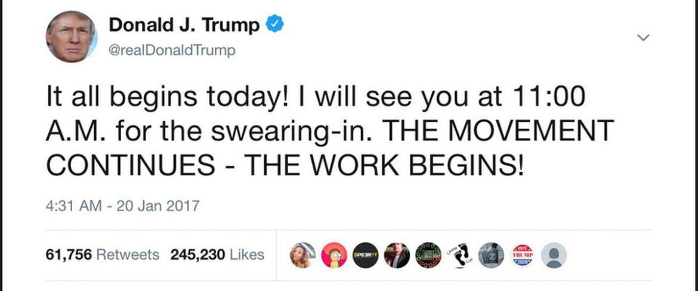 Screenshot: Donald Trump's erster Tweet als Präsident