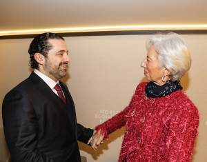 Le Premier Ministre Saad Hariri avec la Présidente du FMI Christine Lagarde. Crédit Photo: Dalati & Nohra
