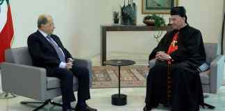 Le Président Michel Aoun avec le Patriarche Maronite Boutros Béchara Raï, le vendredi 22 février 2019. Crédit Photo: Dalati & Nohra
