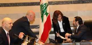 Le Premier Ministre Saad Hariri et la Ministre de l'Energie et des Ressources Hydrauliques Nada Boustani lors du Conseil des Ministres du Jeudi 4 avril 2019. Crédit Photo: Dalati & Nohra
