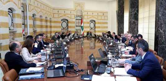 Le conseil des ministres réuni au Palais Présidentiel de Baabda pour adopter le plan électricité. 8 avril 2019. Crédit Photo: Dalati & Nohra